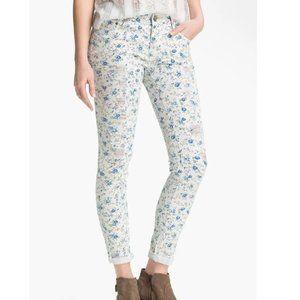 Love Fire Floral Print Destroyed Skinny Jeans